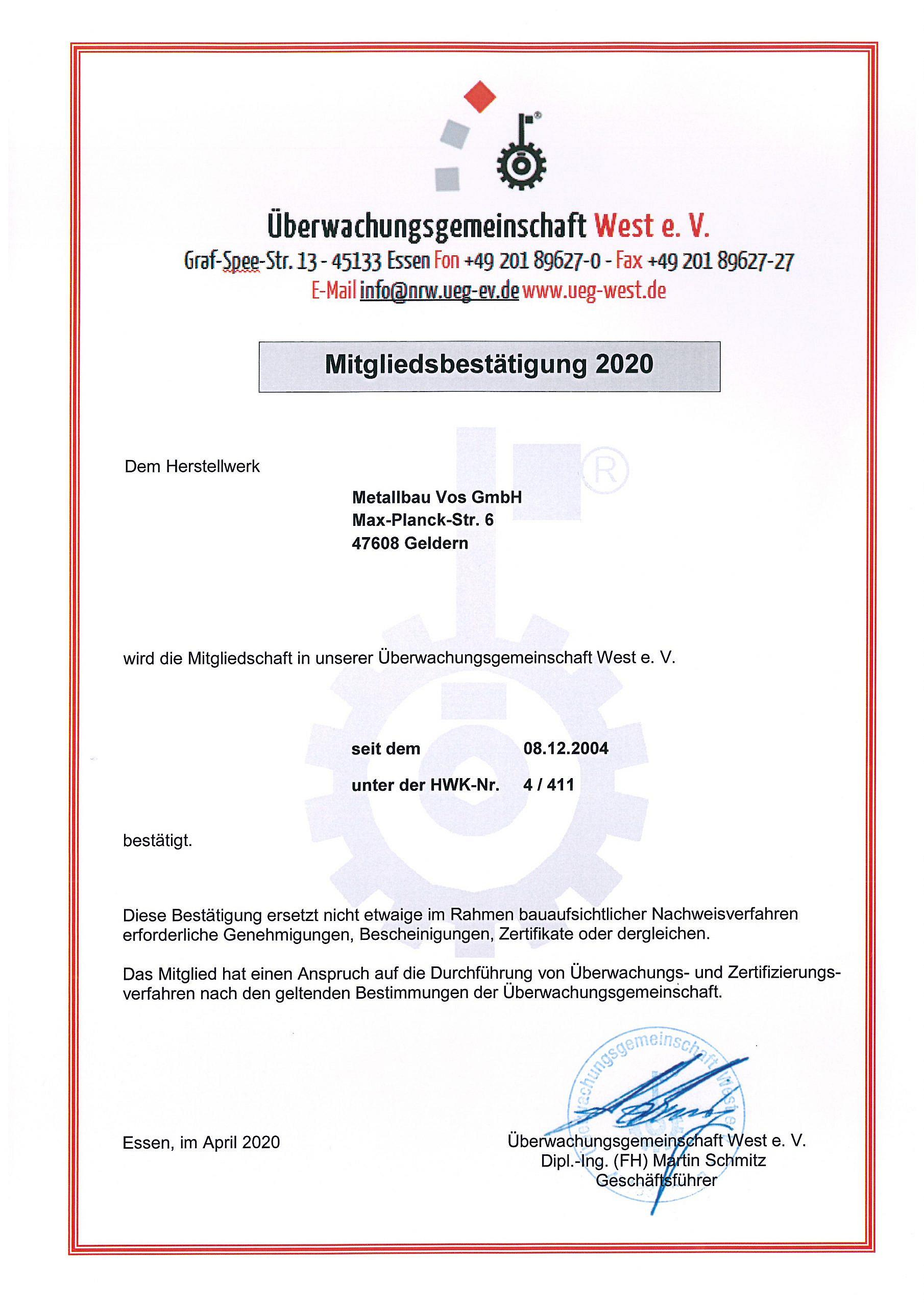 Zertifikat Überwachungsgemeinschaft 2020